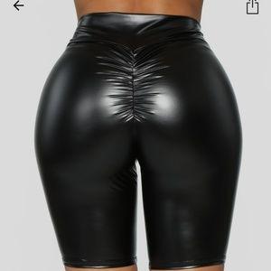 Black Ruched Biker Shorts